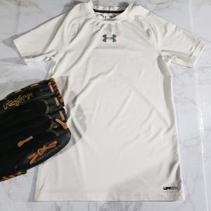 Under Armor Youth Fitted Dri-fit white top